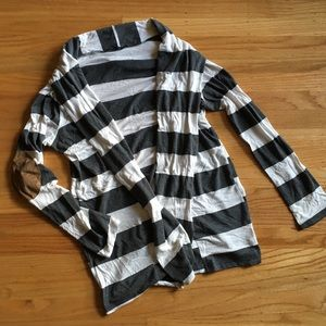 Honey punch striped cardigan with elbow patches